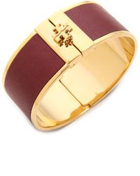 Tory Burch Skinny Leather Inlay Cuff Bracelet  Blackshiny Gold - Lyst