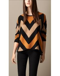 Burberry Zig Zag Cashmere Sweater - Lyst