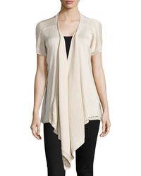 Donna Karan New York Draped-Front Silk-Cashmere Cozy - Lyst