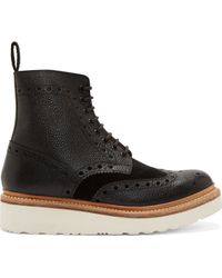 Grenson Black Leather Shortwing Brogue Fred Boots - Lyst