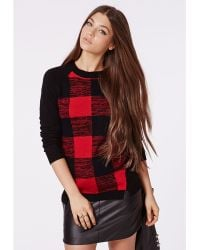 Missguided Tory Twist Seam Check Jumper Red - Lyst