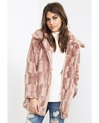 Forever 21 Checkered Faux Fur Coat - Lyst