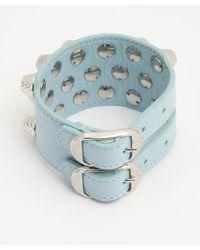 Balenciaga Light Blue Lambskin Studded Double Buckle Cuff - Lyst