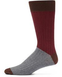 Saks Fifth Avenue Black Label - Ribbed Colorblock Socks - Lyst