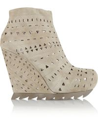 Camilla Skovgaard Cutout Suede Wedge Ankle Boots - Lyst
