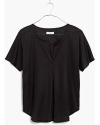 Madewell Luster Cotton Split-Neck Tee - Lyst