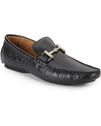 Steve Madden Bankkrol Crocodile-embossed Leather Loafers - Lyst
