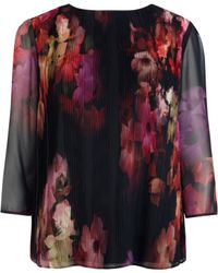 Ted Baker Pleated Cascading Floral Top - Lyst