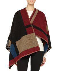 Burberry Prorsum Colorblock Check Blanket Poncho - Lyst