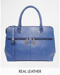Ri2k - Leather Bag With Zip Detail - Lyst
