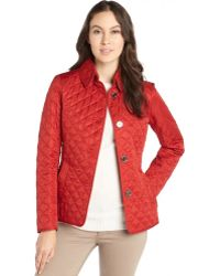 Burberry Brit Military Red Diamondquilted Button Front Copford Jacket - Lyst