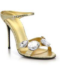 Giuseppe Zanotti | Jeweled Metallic Leather Slide Sandals | Lyst