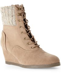 Madden Girl Taupe Destiin Wedge Boots - Lyst