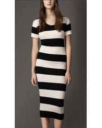 Burberry Striped Silk Dress - Lyst
