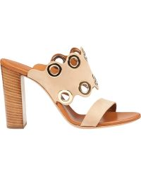 Chloé Ch24615 Eyelet Mule Ivory Leather white - Lyst