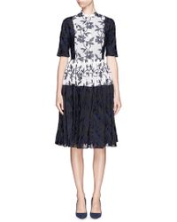 Ms Min Flower Embroidery Cotton Toile Shirt Dress blue - Lyst