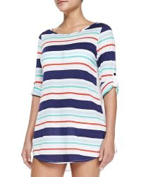 Splendid Striped Tunic with Button-tab Sleeves - Lyst