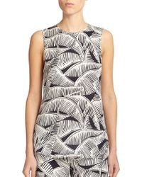 Theory Bringam Palm-Print Silk Blouse - Lyst