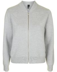 Topshop Merino Wool Knit Zip Bomber Jacket By Boutique - Lyst