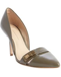 Aerin Olive Leather Buckle Detail D'Orsay 'Fatima' Pumps - Lyst