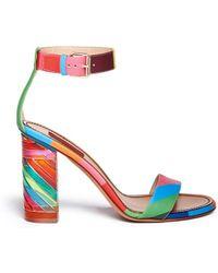 Valentino '1973' Geometric Print Acetate Heel Leather Sandals - Lyst