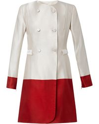 Katie Ermilio Bordered Double-breasted Silk Coat - Lyst