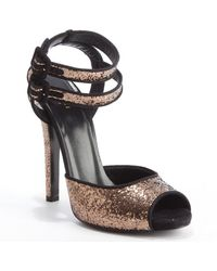 Gucci Camel and Black Sequin Accent Leather Strappy Peep Toe Sandals - Lyst