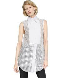 Ellery Sleeveless Laminated Cotton Lace Shirt - Lyst