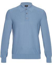 Dunhill | Button-through Chevron-knit Cotton Top | Lyst