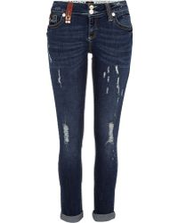 River Island Dark Wash Padlock Trim Matilda Skinny Jeans - Lyst