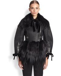 Alexander McQueen Leather  Fur Moto Jacket - Lyst