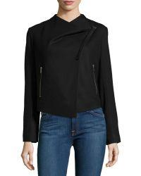 Helmut Lang Asymmetric Cropped Wool Jacket - Lyst