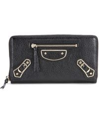 Balenciaga Classic Continental Zip Around Leather Wallet - Lyst