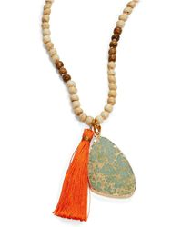 Panacea - Druzy And Tassel Beaded Pendant Necklace - Lyst
