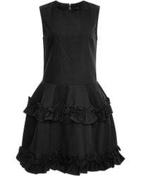 J Brand x Simone Rocha Tiered Ruffled-Hem Denim Dress In Black - Lyst