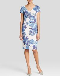 Adrianna Papell Dress - Short Sleeve Floral Sheath blue - Lyst