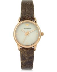 Emporio Armani | Rose Gold-tone Stainless Steel Women's Watch W/brown Cracked Leather Strap | Lyst