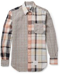Thom Browne Button-Down Collar Checked Cotton Shirt - Lyst