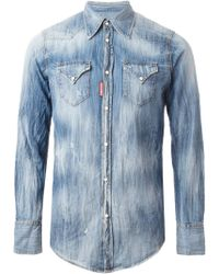 DSquared2 Distressed Denim Shirt - Lyst
