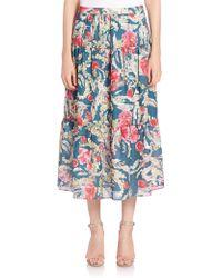 Haute Hippie | Floral-print Silk Midi Skirt | Lyst