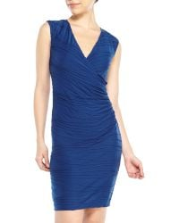 Max Studio Cobalt Piped Surplice Dress - Lyst