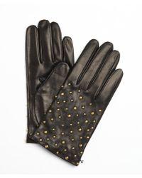Portolano Black Leather Gold Studded Nappa Gloves - Lyst