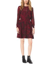 Michael Kors Smocked Animal-Print Dress - Lyst