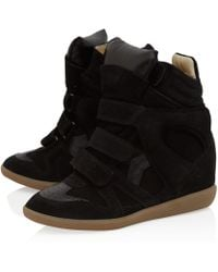 Isabel Marant Black Bekett Suede Wedge Trainers - Lyst