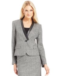 Calvin Klein Faux Leather Trim Tweed Jacket - Lyst