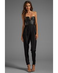 Shakuhachi - Sculpted Leather Bustier Jumpsuit in Black - Lyst