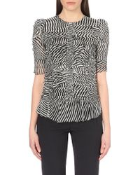 Etoile Isabel Marant Ruched Silk Chiffon Top - Lyst