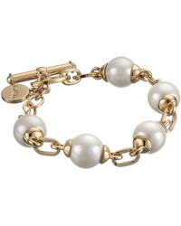 Lauren by Ralph Lauren Bar Harbor 7 12 12mm Pearl and Small Oval Link W Ring and Toggle Bracelet - Lyst