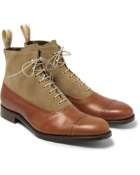 Grenson Foot The Coacher Leather And Suede Boots - Lyst
