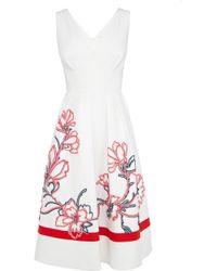 Karen Millen Full Skirted Ribbon Applique Dress floral - Lyst